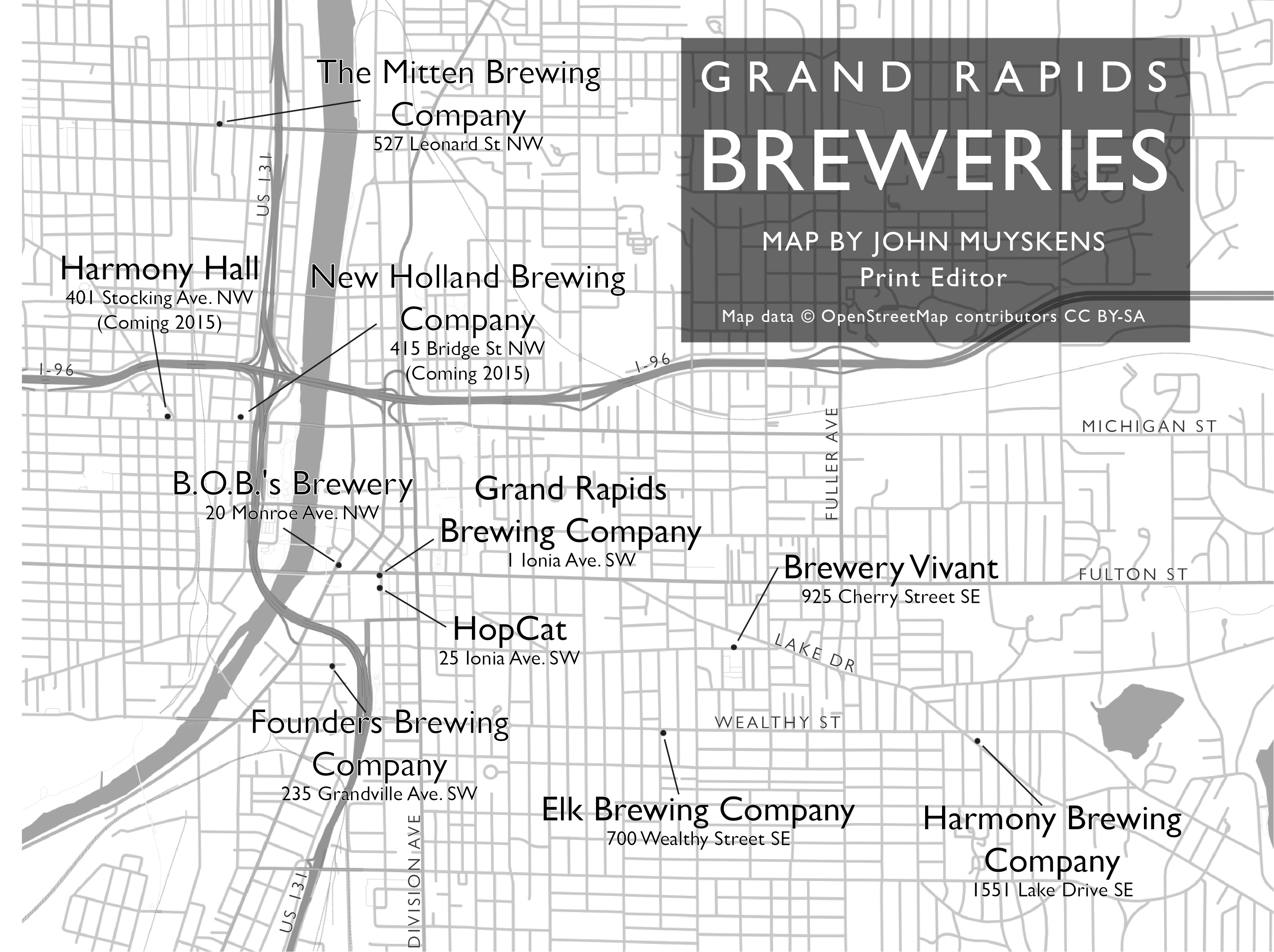 Grand Rapids Brewery Map Map of Grand Rapids breweries